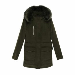 Mid-Length Wool Blend Hooded Coat