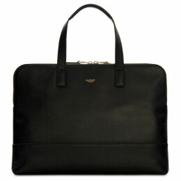 Knomo Mayfair Luxe Reeves Black Leather Briefcase 14