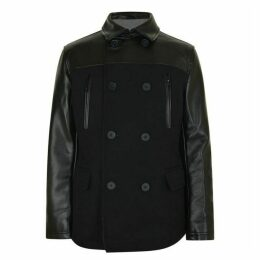 DKNY Leather Panel Coat