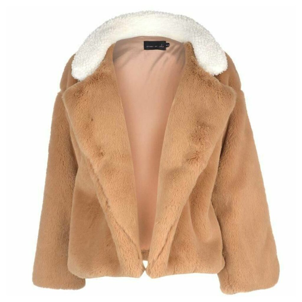 Story of Lola Teddy Faux Fur Stripe Coat
