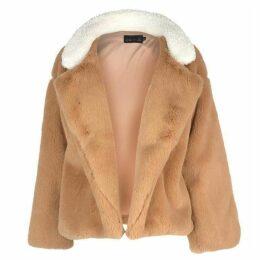 Story of Lola Teddy Faux Fur Stripe Coat