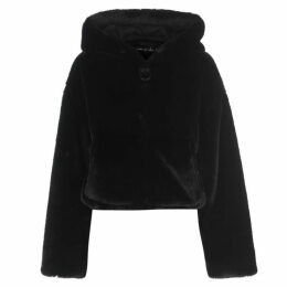 Story of Lola Teddy Faux Fur Cropped Hooded Coat