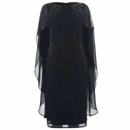 Adrianna Papell Draped Sheer Sleeve Dress