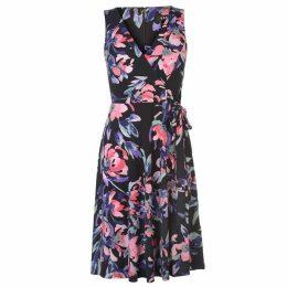 DKNY V Neck Waist Tie Dress