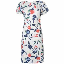 Gant V Neck Print Dress Ladies