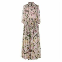 Dolce and Gabbana Lily Print Chiffon Dress