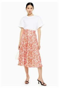 Womens Red Floral Full Circle Midi Skirt - Red, Red