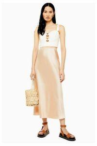 Womens Tall Satin Bias Skirt - Cream, Cream