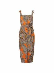 Womens Petite Multi Coloured Paisley Print Midi Shift Dress- Orange, Orange