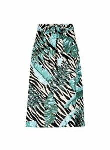 Womens Petite Multicolour Zebra Leaf Print Skirt- Multi Colour, Multi Colour