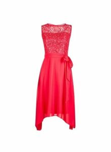 Womens **Billie & Blossom Petite Coral Midi Dress- Coral, Coral