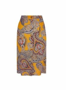 Womens Petite Paisley Print Midi Skirt- Orange, Orange