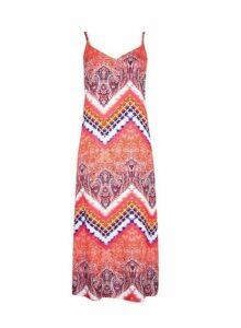 Womens Petite Tie Dye Slip Dress- Pink, Pink