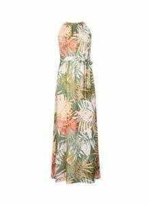 Womens Petite Palm Print Halter Neck Dress- Multi Colour, Multi Colour