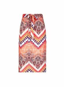 Womens Petite Tie Dye Midi Skirt- Pink, Pink