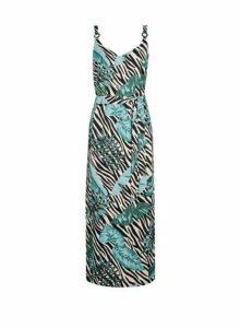 Womens Petite Multi Colour Leaf Print Maxi Dress- Multi Colour, Multi Colour