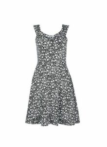 Womens Petite Black Ditsy Print Fit And Flare Dress- Black, Black