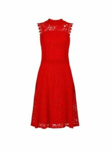 Womens Red Lace Midi Skater Dress- Red, Red