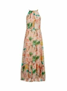 Womens Tropical Print Halter Maxi Dress- Multi Colour, Multi Colour