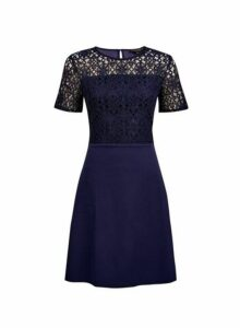 Womens **Navy Geometric Lace Top Skater Dress- Blue, Blue