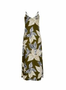 Womens **Tall Khaki Tropical Print Slip Dress- Khaki, Khaki