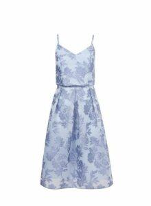 Womens **Luxe Blue Organza Prom Dress- Blue, Blue
