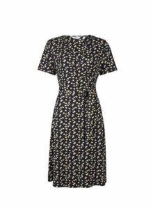 Womens **Tall Navy Ditsy Print Wrap Dress- Blue, Blue