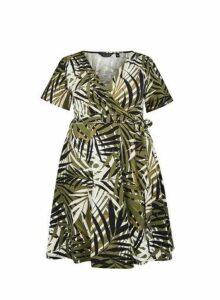 Womens **Dp Curve Khaki Leaf Print Wrap Dress- Khaki, Khaki