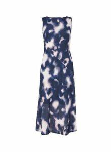 Womens Petite Blue Tie Dye Midi Dress- Blue, Blue