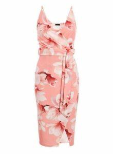 Womens *Quiz Multi Coloured Sam Faiers Wrap Midi Dress- Coral, Coral
