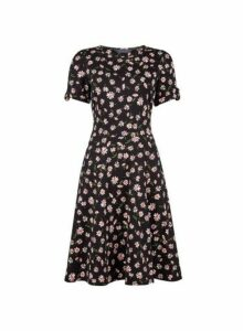 Womens **Tall Black Daisy Print T-Shirt Dress- Black, Black