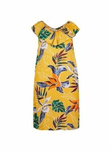 Womens **Dp Curve Tropical Print Shift Dress- Yellow, Yellow