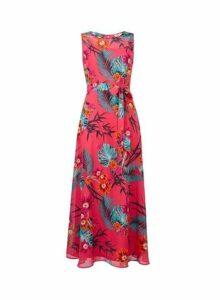Womens **Billie & Blossom Petite Pink Tropical Print Maxi Dress- Pink, Pink