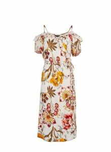 Womens Pink Floral Print Wrap Dress- Pink, Pink