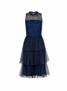 Womens **Luxe Navy Tiered Tulle Midi Dress- Blue, Blue