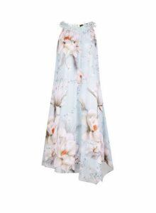 Womens **Showcase 'Taylor' Floral Print Trim Trapeze Dress- Blue, Blue