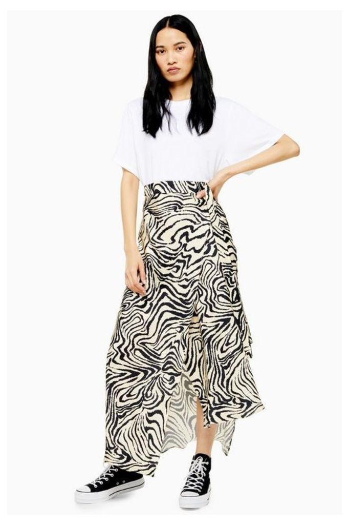 Womens **Zebra Silk Bias Skirt By Boutique - Multi, Multi