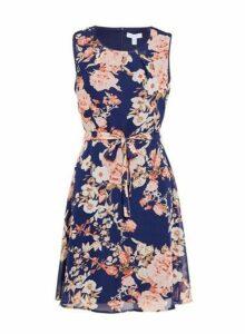 Womens *Blue Vanilla Multi Colour Floral Print Pleated Dress- Navy, Navy