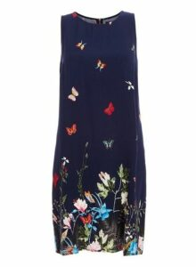 Womens *Quiz Blue Butterfly Print Shift Dress- Blue, Blue