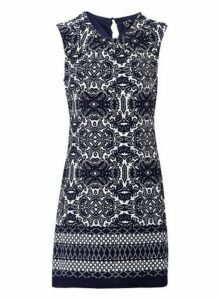 Womens *Izabel London Navy Baroque Print Shift Dress- Multi Colour, Multi Colour