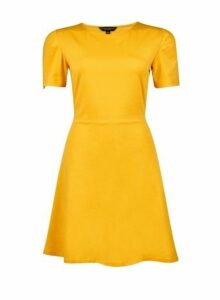 Womens Mustard Fit And Flare Dress- Yellow, Yellow