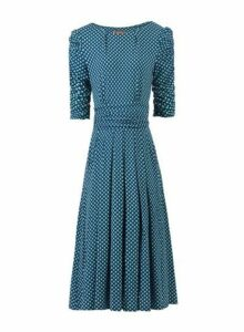 Womens *Jolie Moi Blue Geometric Print Viscose Skater Dress- Blue, Blue