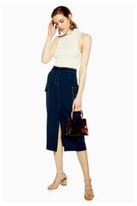 Womens Navy Split Utility Midi Skirt - Navy Blue, Navy Blue
