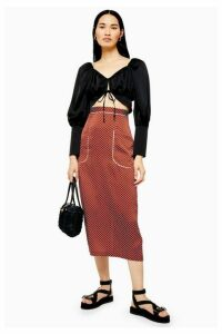 Womens Tan Spot Pocket Midi Skirt Skirt - Tan, Tan