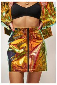 Womens **Copper Holographic Mini Skirt By Jaded London - Orange, Orange