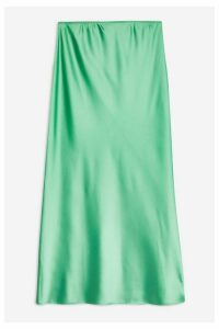 Womens Tall Satin Bias Skirt - Green, Green