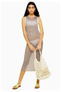 Womens Knitted Metal Yarn Midaxi Dress - Mink, Mink