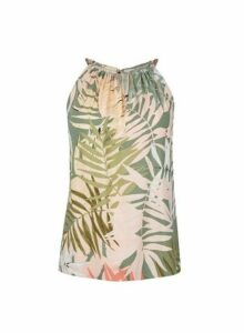 Womens Petite Palm Print Halter Neck Top- Green, Green