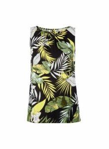 Womens **Billie & Blossom Palm Print Shell Top- Black, Black