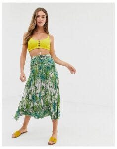 ASOS DESIGN mirrored botanical print pleated midi skirt